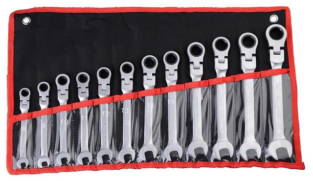 12-Piece 8-19mm Metric Reversible Ratcheting Wrench Spanner Tool Combination Set.