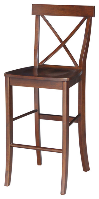 X Back Bar Height Stool Traditional Bar Stools And