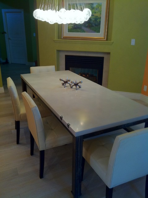 Custom 2Stone Concrete Dining Table And Bench On Metal Frame