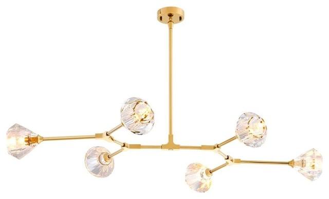 """Gold Modern Chandelier, Eichholtz Salasco, Gold, 53""""x35""""x6"""""""