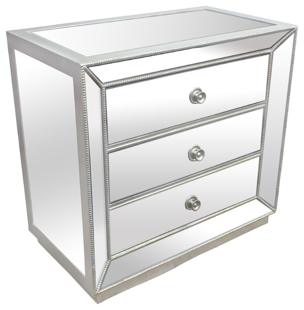 Silver Mirrored Glass Bedroom 3 Drawer Nightstand
