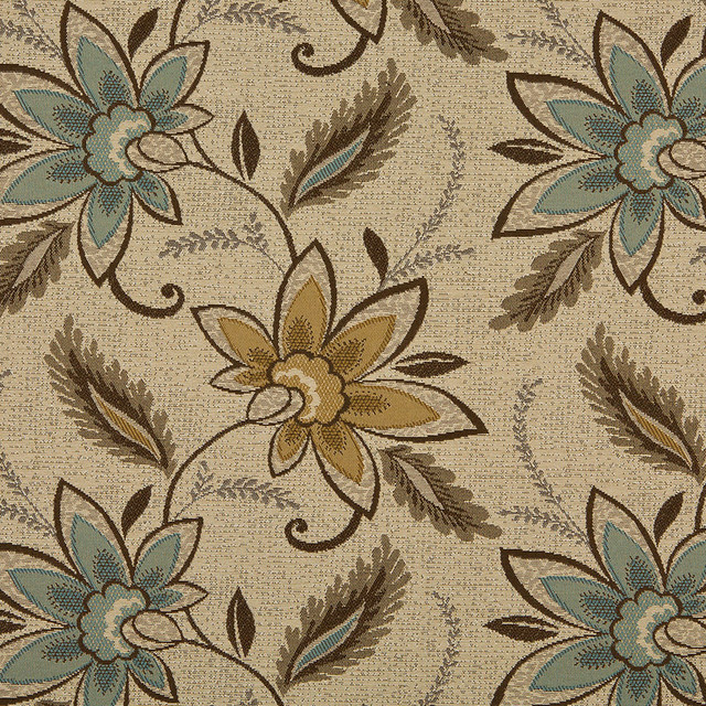 Beige Brown And Teal Floral Vines Indoor Outdoor Upholstery Fabric By The  Yard Contemporary Outdoor