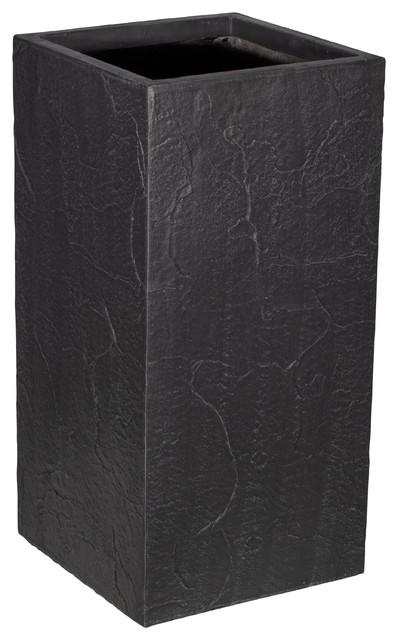 Premium Aufora Plant Pot, Resin, Black, Large, 72x36x36 cm
