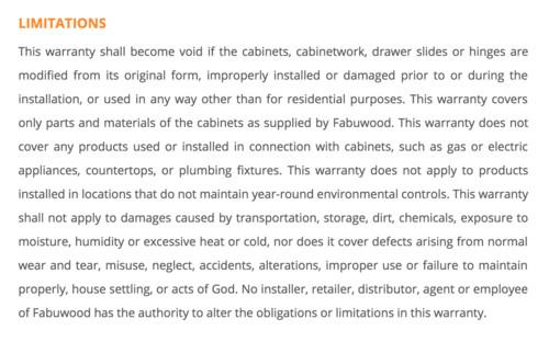 Fabuwood warranty - is it a joke?