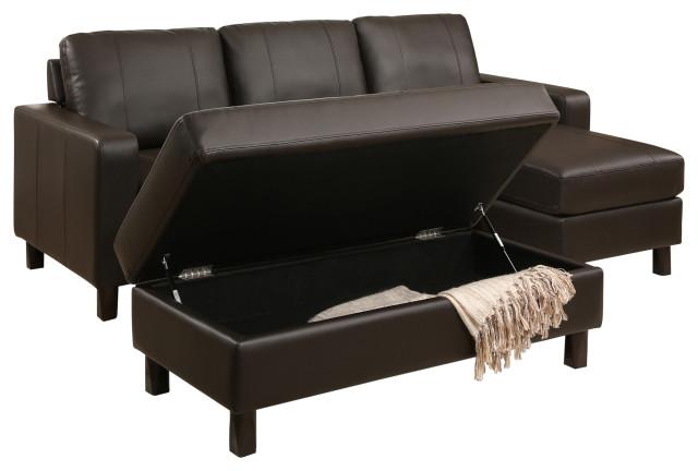 Super Abbyson Living Jersey Leather Reversible Sectional And Storage Ottoman Inzonedesignstudio Interior Chair Design Inzonedesignstudiocom