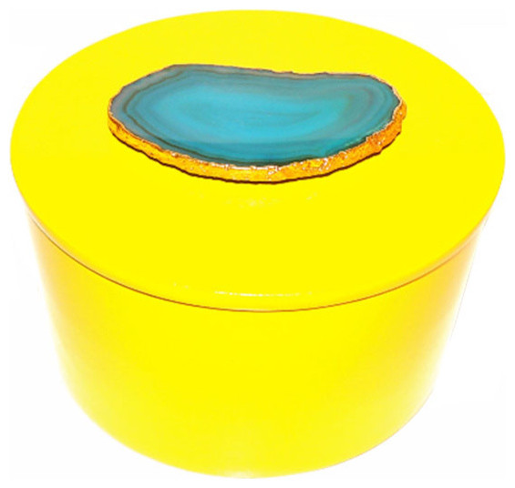 Decorative Round Boxes Inspiration Karin Ashley  Round Agate Lacquer Box  View In Your Room  Houzz Inspiration Design