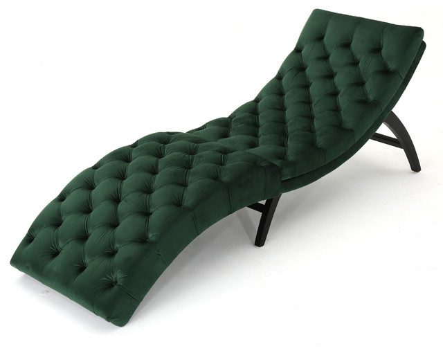 Grasby Tufted New Velvet Chaise Lounge, Emerald.