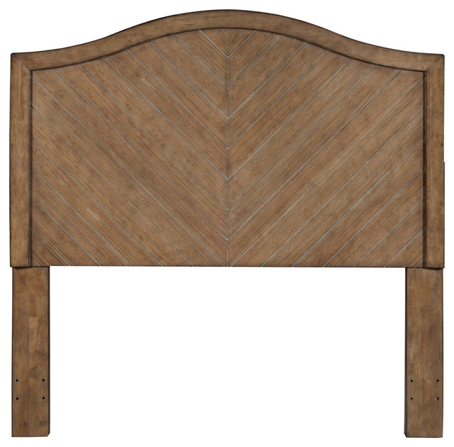 Camel Back Chevron Patterned Cerused Oak Queen Wood Headboard.