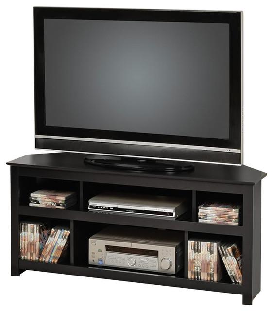 Prepac Vasari Flat Panel Plasma / LCD Corner TV Stand in Black - Transitional - Entertainment ...
