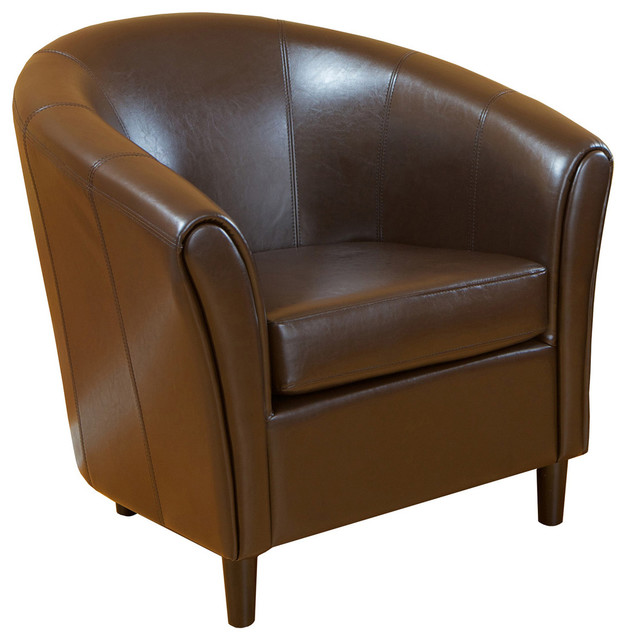 Newport Brown Leather Club Chair.