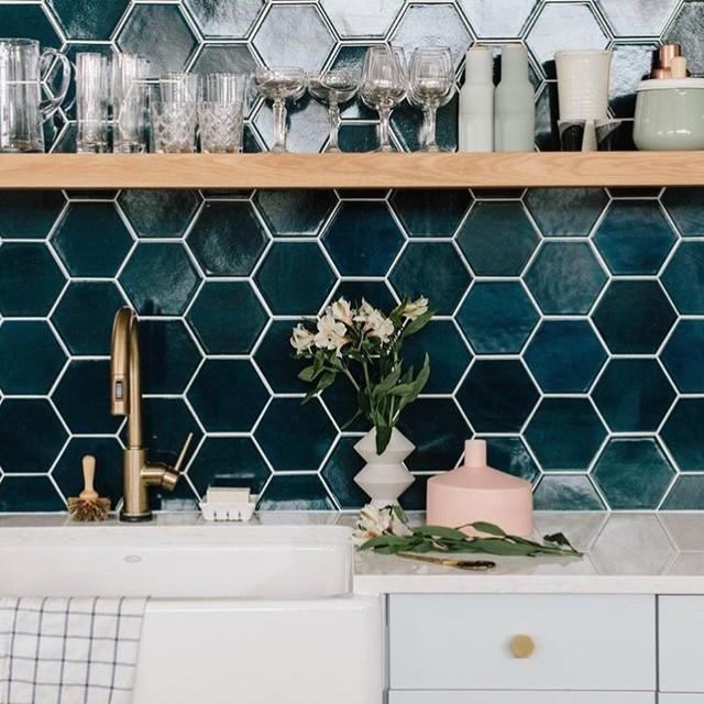 Navy Blue Hexagon Kitchen Backsplash Contemporary San