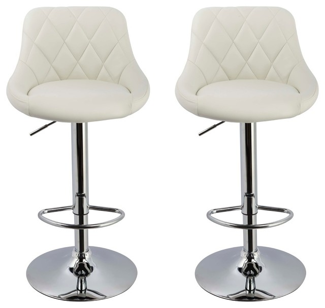 Claire Faux Leather Adjustable Swivel Bar Stools, Set of 2, White