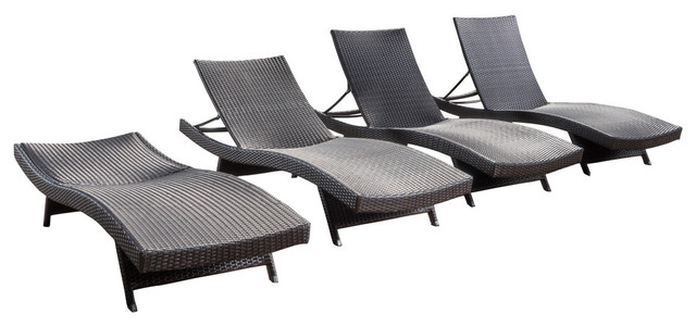 Pe Wicker Chaise Lounge Chairs Set