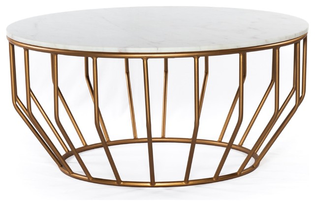 Gold Leaf Round Coffee Table, Gold Round Coffee Table