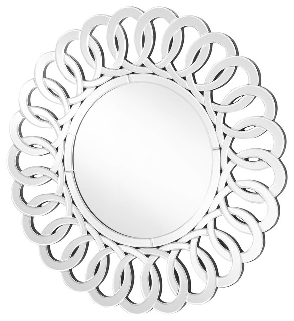"Sparkle Contemporary Round Mirror, Clear, 39""."