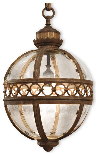 "Jordan Global Bazaar Round Antique Brass Pendant 1 Light Lantern, 16.5""."