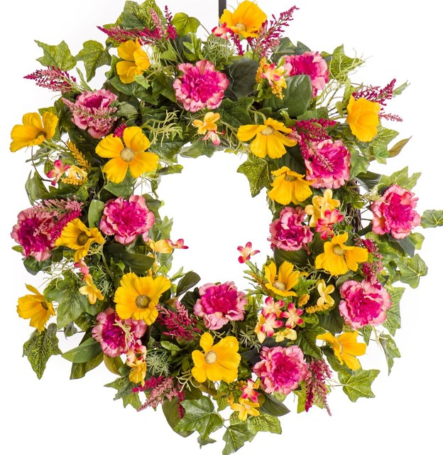 "Pink Carnation And Yellow Cosmos Silk Wreath, 26""."