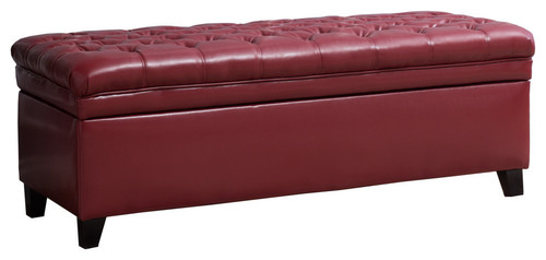 GDF Studio Sheffield Red Faux Leather Tufted Storage Ottoman