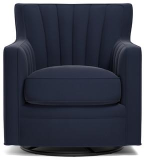 Zerk Swivel Arm Chair Navy Blue Velvet Contemporary