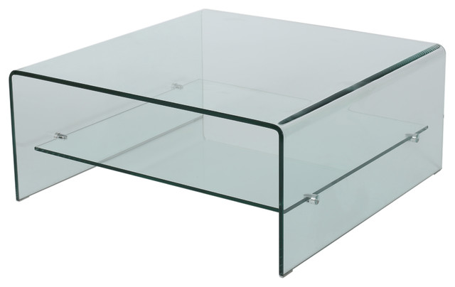 Classon Square Glass Coffee Table With Shelf Contemporary