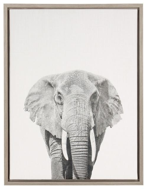 Framed Canvas Wall Art sylvie elephant gray framed canvas wall artsimon te tai