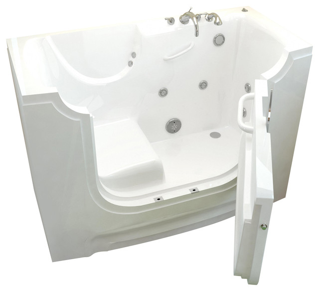 Venzi Bathing 30x60 Right Drain White Whirlpool Jetted Wheelchair Access.