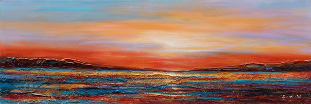 """""""sunset Dreams Ii"""" Hand Painted Canvas Art, 60""""x20""""."""