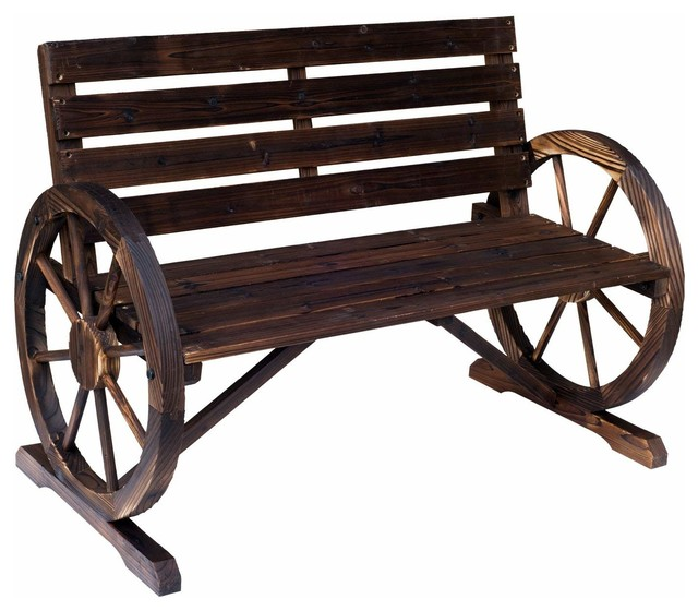 Strange Outsunny Rustic Wood Outdoor Wagon Wheel Wooden Bench Seat Onthecornerstone Fun Painted Chair Ideas Images Onthecornerstoneorg