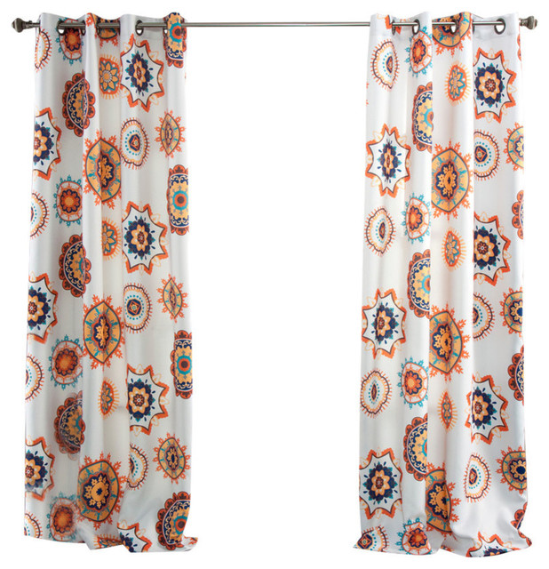 Adrianne Window Curtain Set, White And Tangerine.