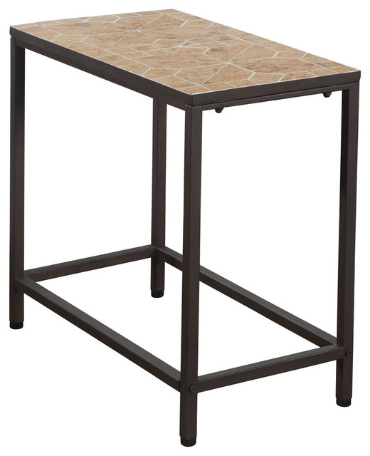 Monarch Specialties Accent Table, Terracotta Tile Top, Hammered Brown,  I3163 Side Tables