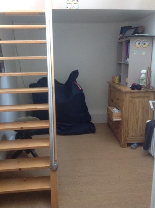 am nagement sous mezzanine chambre de mon fils. Black Bedroom Furniture Sets. Home Design Ideas