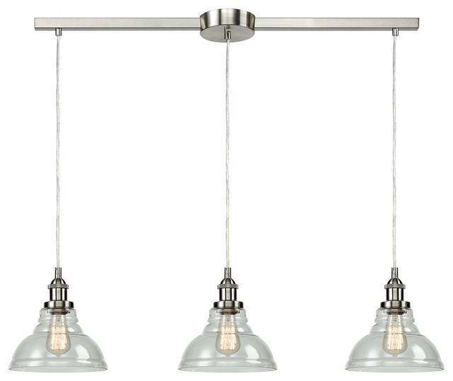 Modern Clear Glass Kitchen Island Pendant Lighting Fixtures Industrial Kitchen Island Lighting By Ecopower Light Llc Dr5130 3du Bn Houzz