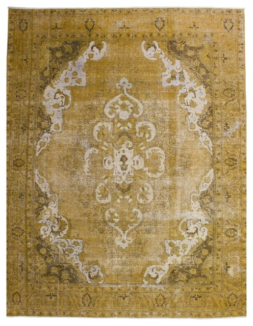 Consigned Vintage Persian Rug Carpet Overdyed Gold Yellow 9 5 X12 1