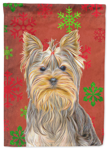 Red Snowflakes Holiday Christmas Yorkie / Yorkshire Terrier Flag Garden Size