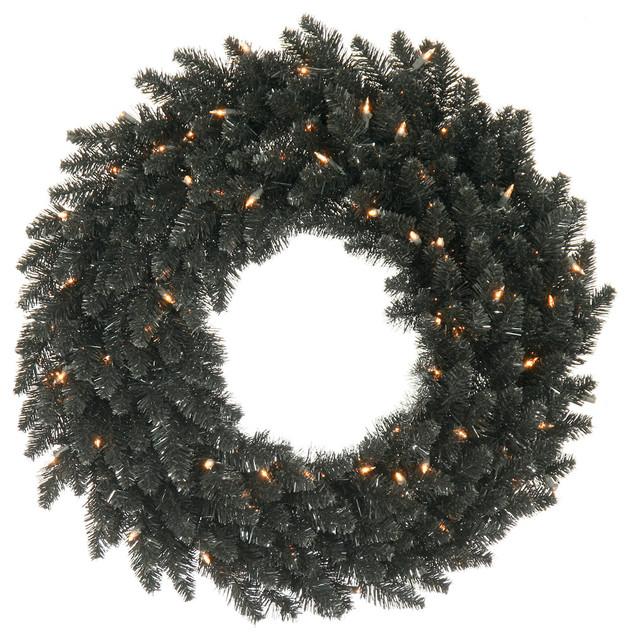 """Unlit 48"""" Black Fir Artificial Wreath, 480 Pvc Tips."""
