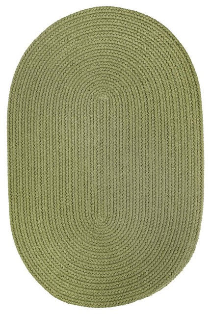 Olive Green Rug Solid Carpet Braided Farmhouse Area