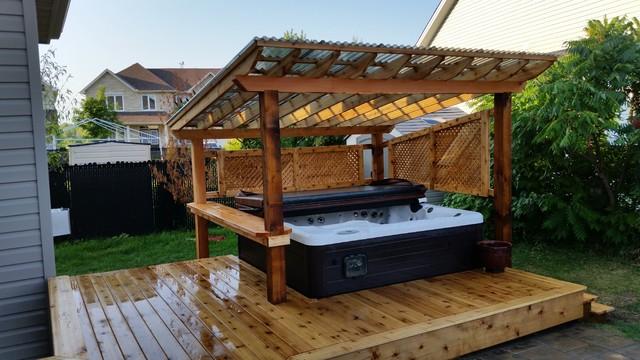 Cedar Backyard Covered Hot Tub Galvanized Steel Fence