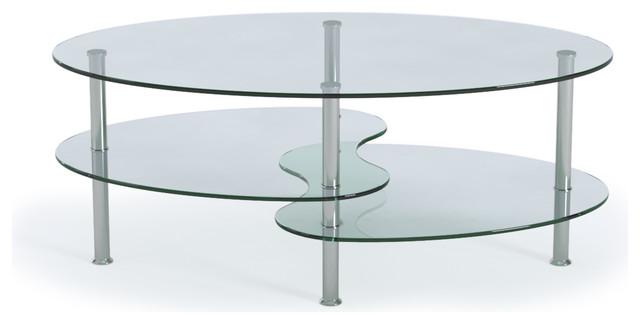 Ryan Rove Ashley Living Room 38 Oval Two Tier Glass Coffee Table