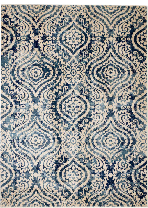 Madison Collection, HM411, White, Blue, Dark Blue, Modern Damask Area Rug, 2x3