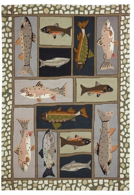 Homefires Mountain Trout Area Rug Beach Style Area