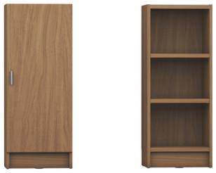 Manhattan Comfort Greenwich 3-Shelf Narrow Tall 2.0 Bookcase, Doors