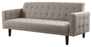 Light Taupe Chenille Sleeper Sofa Bed Futon, Tufted Back, Seat Solid Wood  Legs   Midcentury   Sleeper Sofas   By FlatFair