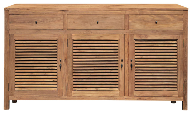 Recycled Teak Wood Louvre Cabinet With 3 Doors Amp 3 Drawers