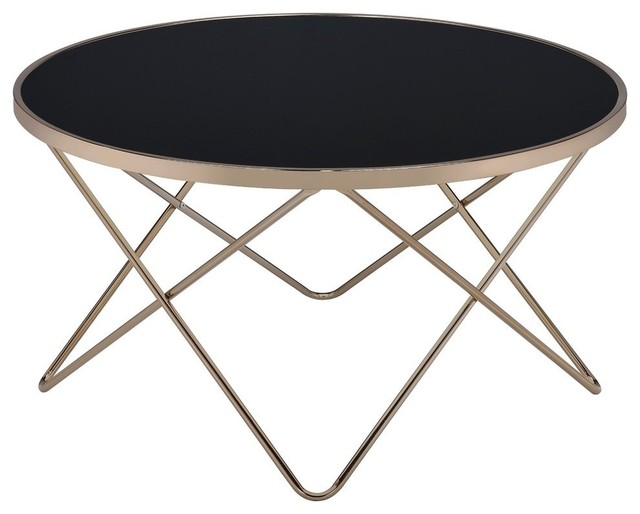 Acme Valora Coffee Table, Black Glass And Champagne.