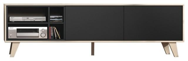 Zaiken Oak and Anthracite TV Cabinet