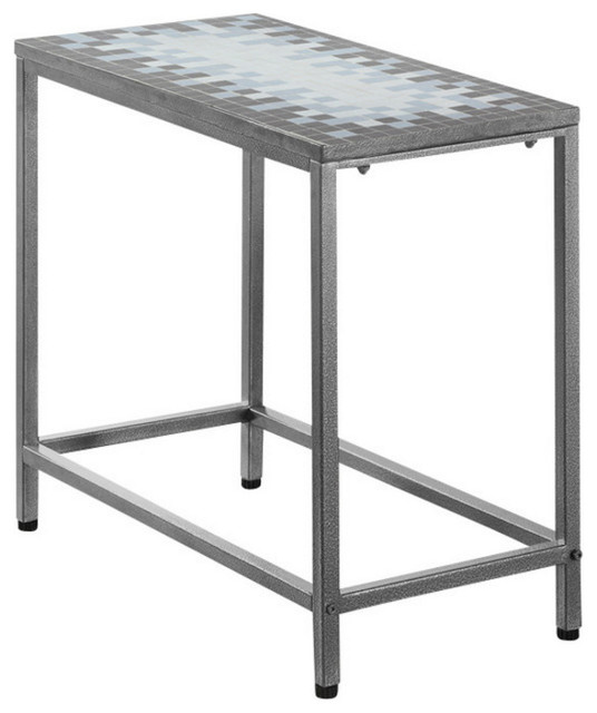 Tile Top Silver Side Table, 3143, Gray Blue Tile Top Silver Transitional  Side