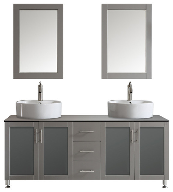 Tuscany Double Vanity, Gray With White Vessel Sink, Mirror ...