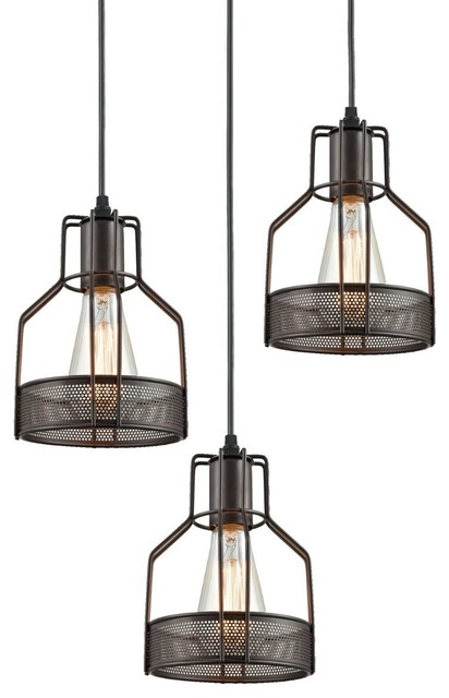 Kitchen Wire Cage Pendant Lighting 3 Light Oil Rubbed Bronze