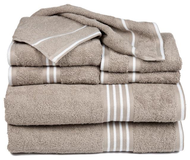 Madrid Taupe Beige Ultra Modern Living Room Furniture 3: Lavish Home Rio 8-Piece Cotton Towel Set
