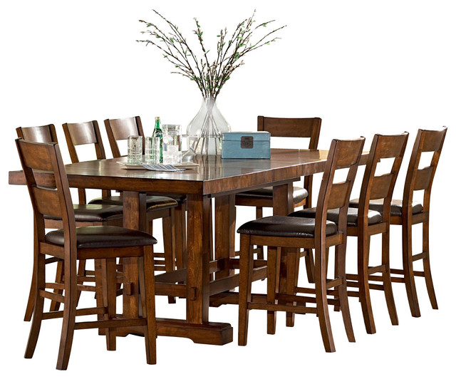 Steve Silver Zappa 9 Piece Counter Height Set With Leaf Traditional Dining  Sets
